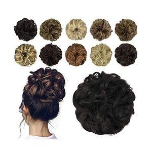 Hair Bun Extension, unordentliche lockige Haarbänder, Plus Size Haarteil, Synthetic Donuts Updo Haarteil für Frauen und Mädchen(schwarz)