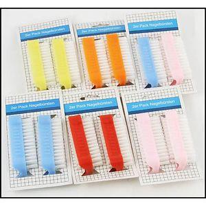2er Set Nagelbürste Handwaschbürste, doppelseitig, aus Kunststoff, verschiedene Farben