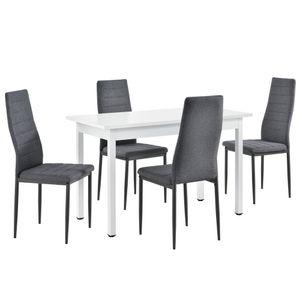 [en.casa] Essgruppe mit 4 Stühlen 120x60cm Küchentisch in Weiß mit Design-Lehnstühlen Esszimmertisch mit 4er Set Polsterstühlen