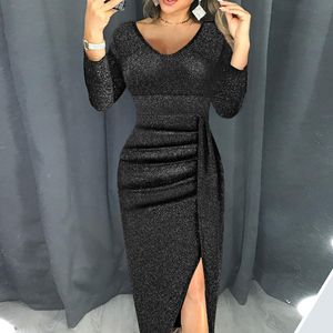 Damenmode V-Ausschnitt High Slit Kleid Langarm Partykleider Größe:XXL,Farbe:Schwarz