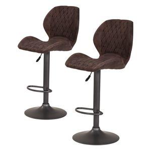 2er Set 920210 SONJA Vintage braun Barhocker Sitzhocker Hocker Hochstuhl verstellbar mit Sitzschale und Lehne