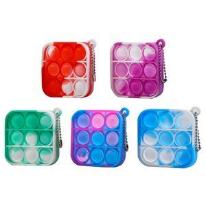 5 Stück Zappeln Spielzeug Mini Stressabbau Handspielzeug Schlüsselbund Spielzeug Push Pop Bubble Angst Stressabbau Spielzeug(Quadrat)