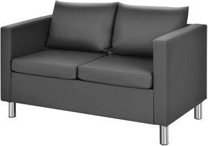 COSTWAY 2 Sitzer Sofa mit Kissen, Sofagarnitur Kunstleder, Couchgarnitur perfekt für Zuhause und Büro, grau