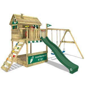 WICKEY Spielturm Klettergerüst Smart Seaside mit Schaukel & grüner Rutsche, Stelzenhaus mit Sandkasten, Kletterleiter & Spiel-Zubehör