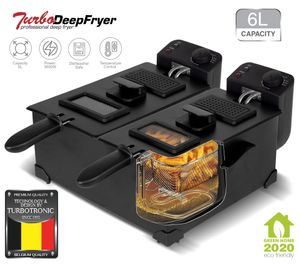Doppel Fritteuse 3600W, Kaltzonen Friteuse 2x 3L, Sichtfenster, 0-190°C, schwarz Edelstahl