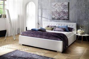 Meise Polsterbett Sandra Comfort in Kunstleder weiß 200x200 cm