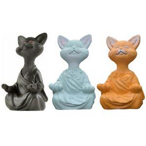 3X Zen Yoga Meditation Katzenstatue,Katze Buddha Figur Ornament Sammlerstück,Harz Kunst Skulpturen Wohnkultur,Garten Terrasse Rasen Nachbildung