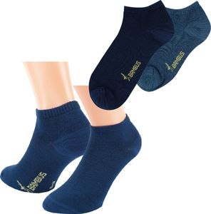 3 Paar Bambus Sneaker Socken Kurzstrumpf Quartersocken MELANGE Damen Herren blau Gr. 43/46