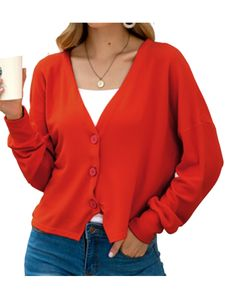 Damen Frauen Cable Knit Cardigan Button Langarm Grandad Plus Größen,Farbe: Big rot,Größe:L