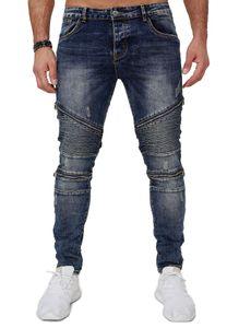 Herren Denim Biker Jeans Stretch Slim Fit Hose Zipper Design Rips Destroyed Reißverschluss Löcher, Farben:Blau, Größe Jeans:31W