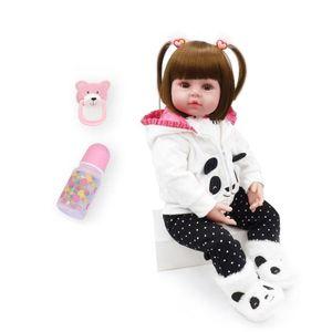 48cm reborn doll + + Flaschensauger (A) 19 $ Yingcun 48cm Reborn Silikonpuppe Baby reborn Baby Mädchen lockiges Weihnachtsgeschenk des Lebens Bad Kinderspielzeug