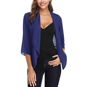 Damen Open Front Light Cardigan 3/4 Ärmel dünner Chiffon Blazer Größe:XL,Farbe:Blau