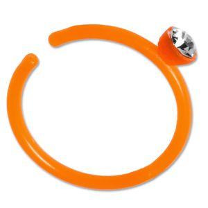 viva-adorno Fake Piercing Nasenring Nasenpiercing Clip on Acryl Zirkonia in verschiedenen Farben Z503,orange