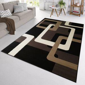 Velours Design Teppich Retros Kurzflor | verschiedene Farben modern, Farbe:Braun, Größe:200x290 cm