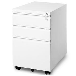 Azkoeesy Stahl Rollcontainer abschließbar Bürocontainer Schubladenschrank Büroschrank ,mobiler Aktenschrank Weiß