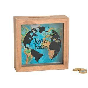 Spardose Reisekasse Holz/Glas, blau/natur