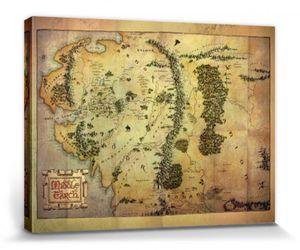 Der Herr Der Ringe Poster Leinwandbild Auf Keilrahmen - Landkarte Von Mittelerde (60 x 80 cm)