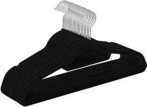 Kleiderbügel samt Schwarz 100 Stück Anzugbügel mit Rutschfeste Oberfläche Garderobenbügel 360° drehbar