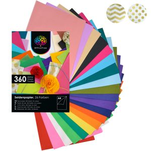 OfficeTree® Seidenpapier 360 Blatt A4 - 26 Farben - 16 g/qm