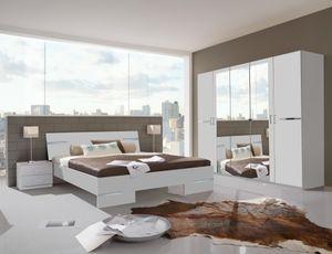 """Schlafzimmer-Set """"ANNA"""" Doppelbett Nachtkommoden Kleiderschrank Bett 180 x 200 Alpinweiß"""