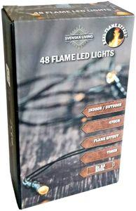 48er LED Lichterkette mit Flammeneffekt warmweiß Batterie Timer Flamme innen und außen
