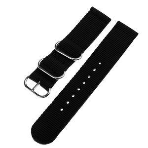 Stoff Nylon Uhrenarmband Silber Schnalle Ersatzgürtel 18mm 20mm 22mm Farbe Schwarz 18mm