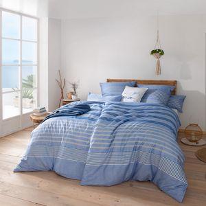 "Estella Mako Satin Bettwäsche "" Alvar "" 7495 Baumwolle Buntgewebe Farbe: bleu : 135x200 cm + 80x80 cm"