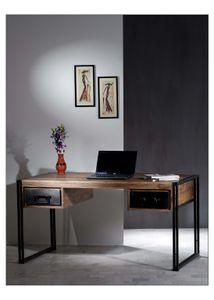 Sit Möbel PANAMA Schreibtisch Akazie | L 150 x B 80 x H 76 cm | natur / antikschwarz | 09207-01 | Serie PANAMA