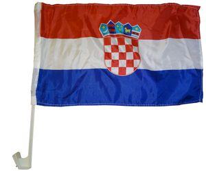 Autoflagge Kroatien 30 x 40 cm  - Autofahne Fahne Flagge Fenster Fensterflagge Fensterfahne Fanflagge Fanfahne Scheibenfahne Scheibenflagge WM EM