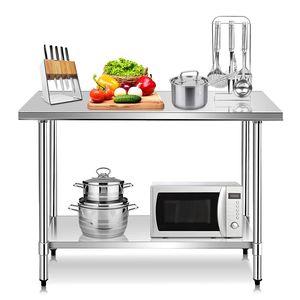 GOPLUS Arbeitstisch Edelstahl höhenverstellbar, Edelstahltisch Küche, Arbeitsvorbereitungstisch, bis 250KG Belastbar, mit Extra Großer Unteren Ablagefläche