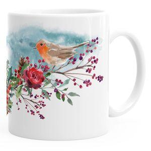 Kaffee-Tasse Vogel Rotkehlchen Blumen Misteln Watercolor Bird Weihnachten Christmas Autiga® weiß unisize