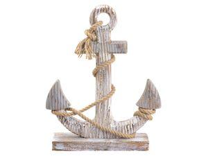 Vintage Deko Holz Anker weiß mit Tau Maritim 26x40 cm Schiff