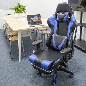 Gaming Stuhl, Racing Stuhl,Ergonomischer Bürostuhl Verstellbare Rückenlehne, verstellbare Armlehnen, mit Kissen Taille,blau-Schwarz-OV