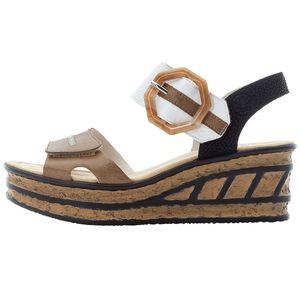 Rieker Damen Sandalen Sandaletten Keilabsatz 68176-64, Größe:37 EU, Farbe:Beige
