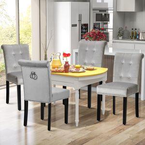 2er Set Esszimmerstuhl Flanell Polsterstuhl Lounge Sessel Stuhl Küche Esszimmer Grau
