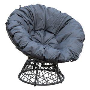 Outsunny Papasansessel Korbsessel Sessel mit Polster 360 Grad Rattan Grau B97xT87xH90cm