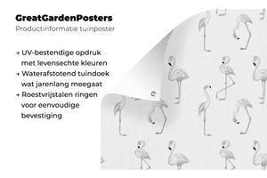 Gartenposter - Muster mit rosa Flamingos - schwarz und weiß - 100x100 cm