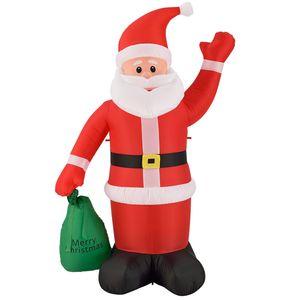 Juskys XL Weihnachtsmann 180 cm groß – aufblasbarer Nikolaus mit Gebläse & LED-Lichterkette – Weihnachtsfigur mit Beleuchtung für außen