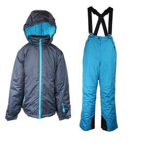 Mädchen Skianzug 2 Teilig Skihose+Skijacke Schneheanzug Schneehose + Schneejacke Grau/Blau 140