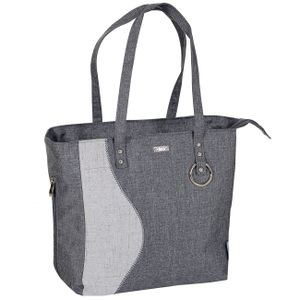 LCP Kids große Baby Wickeltasche mit 2 Henkeln Wickelunterlage wasserabweisend Grau