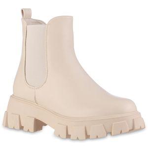 VAN HILL Damen Leicht Gefütterte Plateau Boots Stiefeletten Profilsohle Schuhe 837823, Farbe: Beige, Größe: 39