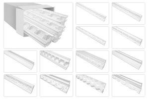 Stuckleisten weiß gemustert, EPS Styropor formfest, Marbet Serie-B Sparpakete, Typ:B-04 / 46x46mm, Menge:40 Meter / 20 Leisten