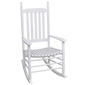 vidaXL Schaukelstuhl mit Gebogener Sitzfläche Weiß Holz