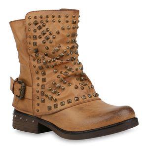 Mytrendshoe Damen Biker Boots Warm Gefütterte Stiefel Nieten Stiefeletten 820097, Farbe: Hellbraun, Größe: 37