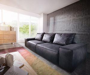 Big-Sofa Sirpio L 250x105 cm Anthrazit Vintage Kedernaht
