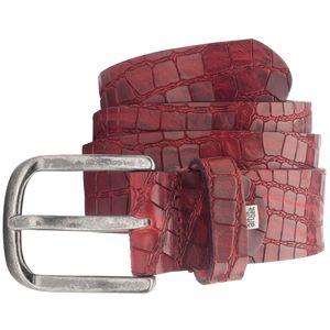 LINDENMANN Vollrind-Ledergürtel Herren / sportlicher Jeans-Gürtel Vollrind Herren, rot, Größe / Size:95, Farbe / Color:rot