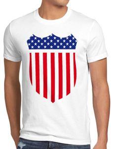 style3 USA Amerika Medal Medaille Wappen Flagge Herren T-Shirt, Größe:XXL, Farbe:Weiß