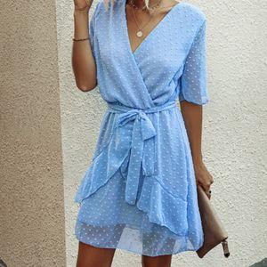 Damenmode Dot V-Kragen Hohe Taille Kleid Gürtel Rüschen Verbandkleid Größe:M,Farbe:Hellblau