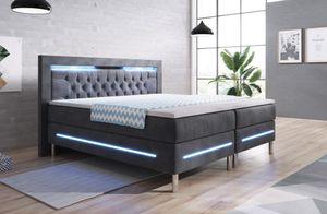 Boxspringbett York Hotelbett Bett Doppelbett Designerbett LED 180x200 Grau Samt