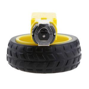 Neue Dual Shaft Plastic Tire Reifen Motor Unterstützung Für Arduino DC 3V 6V Gelb